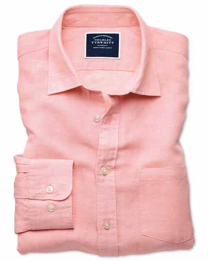 Slim Fit Tencel™/Leinen Hemd in Rosa