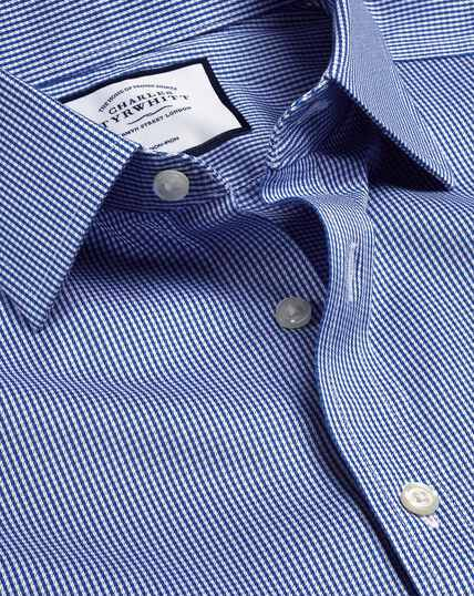 Bügelfreies Hemd mit Hahnentrittmuster - Königsblau