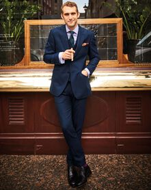Navy slim fit British serge luxury suit