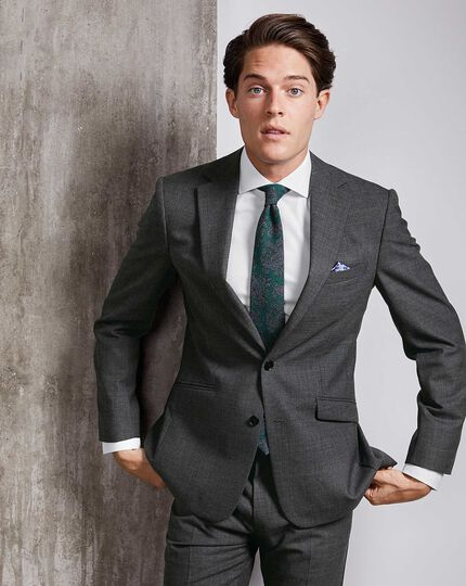 Extra Slim Fit Businessanzug-Sakko aus Merino in Grau