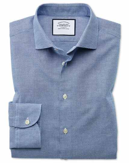 Business Casual Leno Texture Shirt - Blue