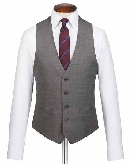Grey adjustable fit jaspé business suit vest