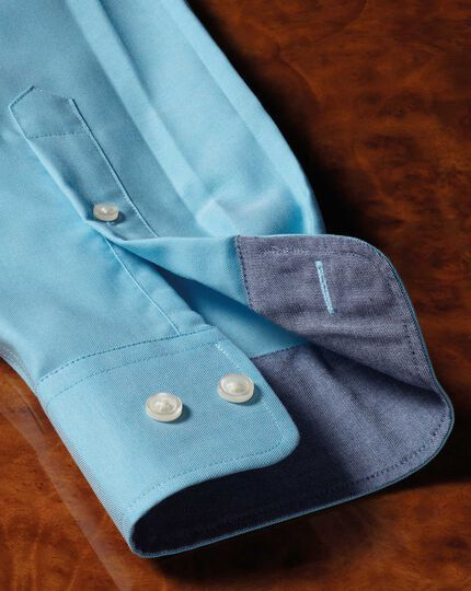 Classic fit non-iron Oxford turquoise plain shirt