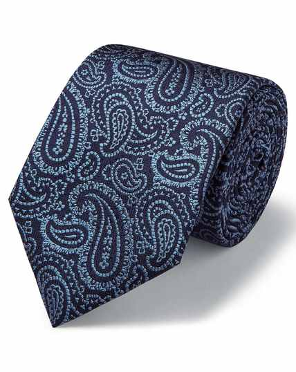 Sky blue and navy silk textured paisley classic tie