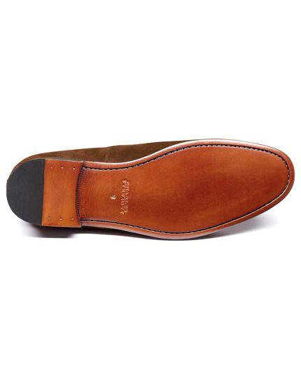 Tan suede tassel loafer