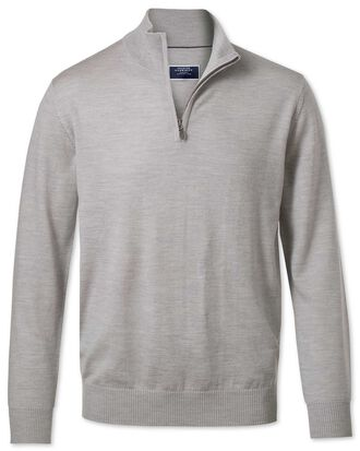 Silver zip neck merino jumper