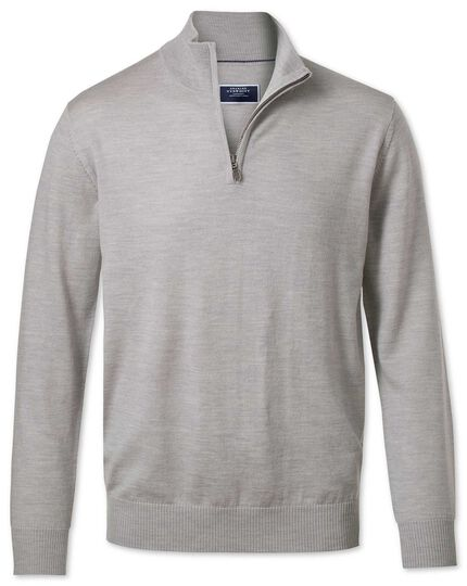 Silver zip neck merino sweater