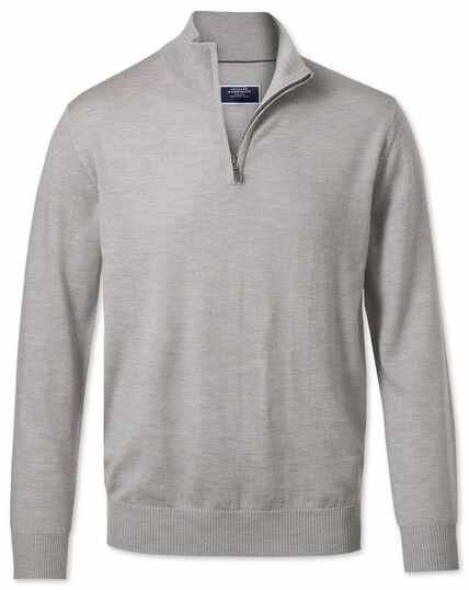 Silver zip neck merino jumper