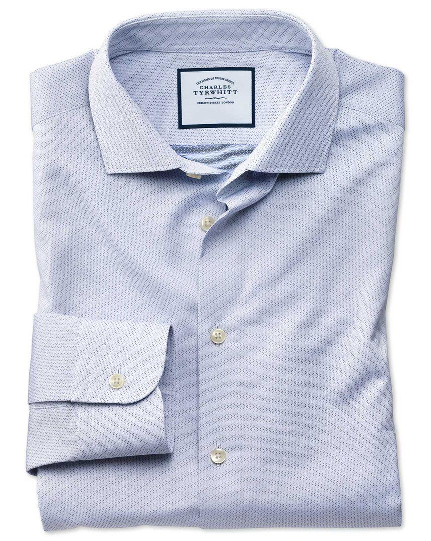 Business Casual Diamond Dobby Shirt - Blue