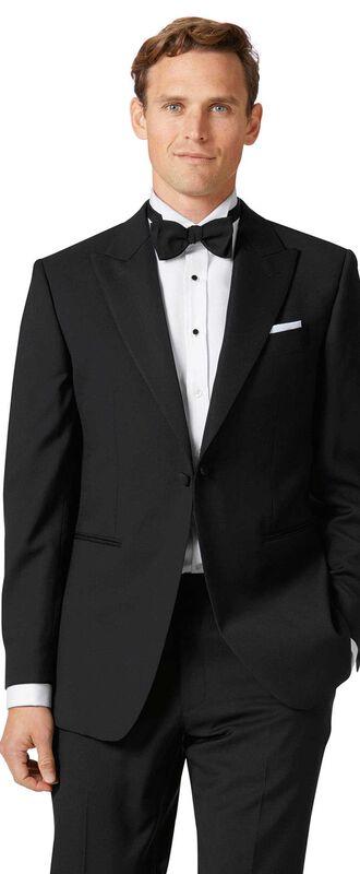 Veste de costume de soirée noire slim fit avec revers en pointe