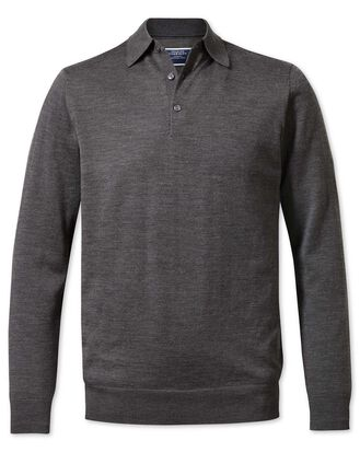 Charcoal polo collar merino sweater