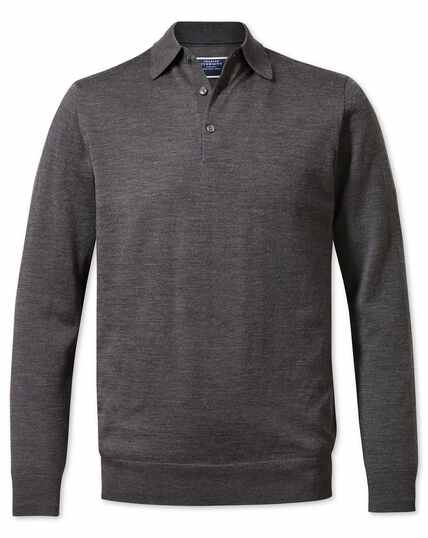 Charcoal polo collar merino jumper