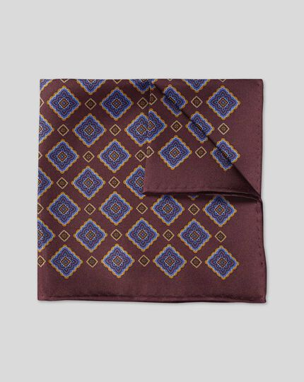 Medallion Reversible Pocket Square - Maroon