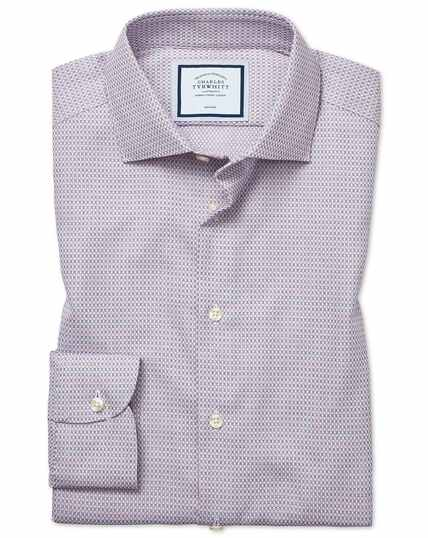 Extra slim fit non-iron natural stretch textures pink and navy shirt