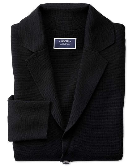 Blazer noir en laine mérinos