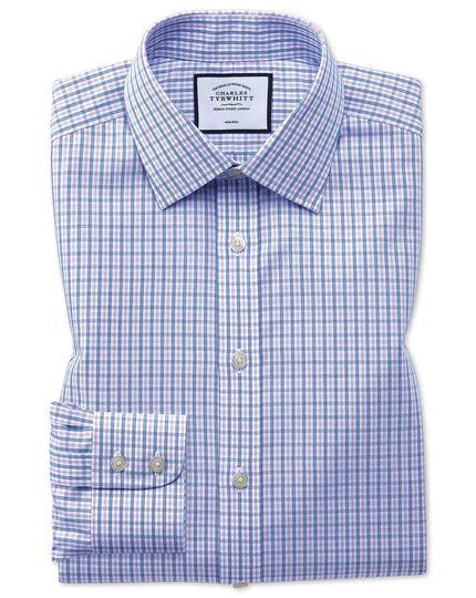 Bügelfreies Slim Fit Hemd mit Karomuster in Blau und Violett