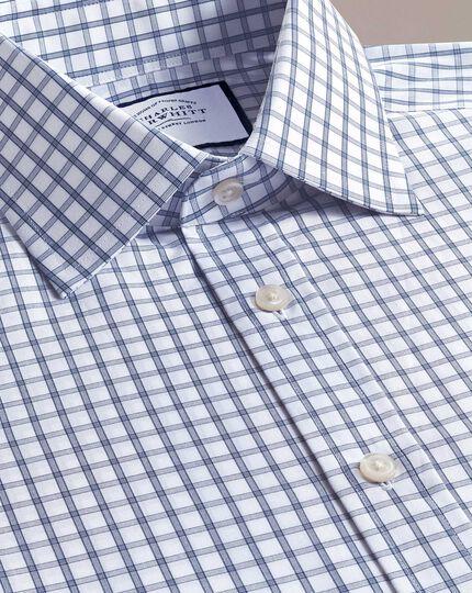 Slim fit blue windowpane check shirt