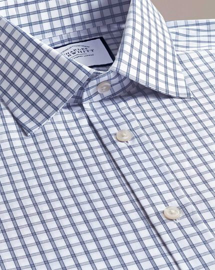 Extra slim fit blue windowpane check shirt