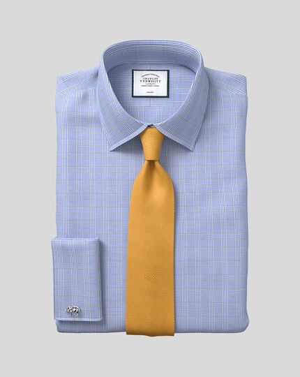 Extra slim fit non-iron blue and gold Prince of Wales check shirt
