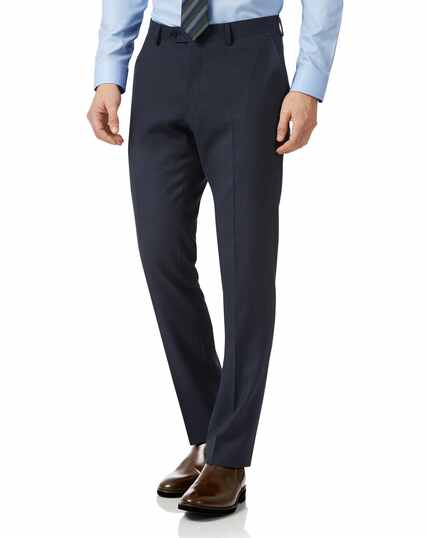 Navy slim fit sharkskin travel suit trousers