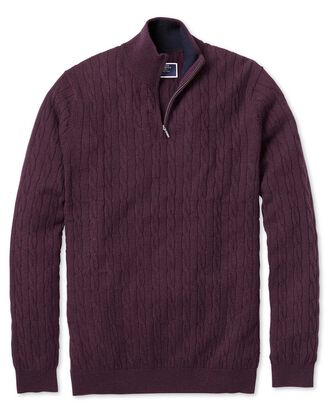 Wine zip neck lambswool cable knit jumper
