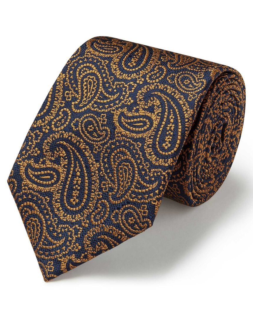 Gold and navy silk textured paisley classic tie