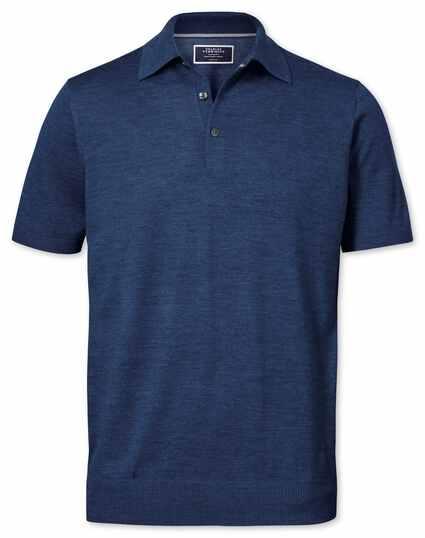 Mid blue merino wool polo collar short sleeve jumper