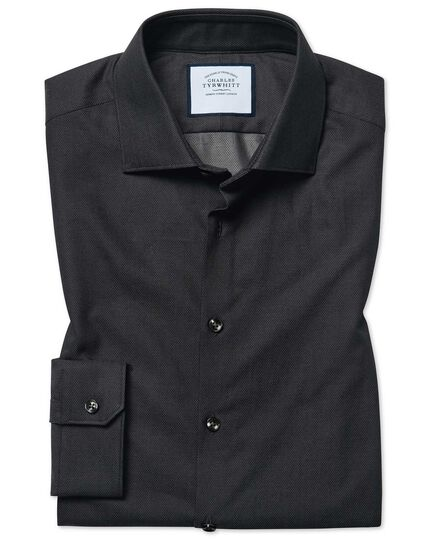 Super slim fit micro diamond charcoal shirt