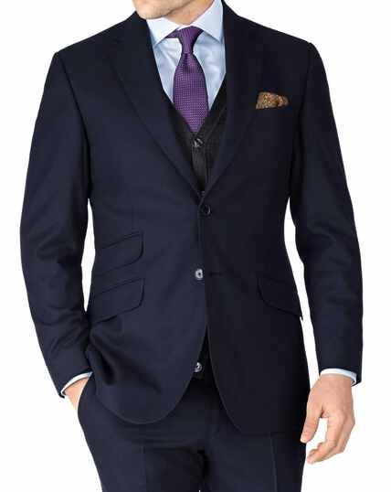 Navy slim fit British serge luxury suit jacket