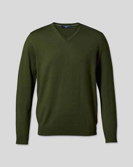 Merino V-Neck Sweater - Olive