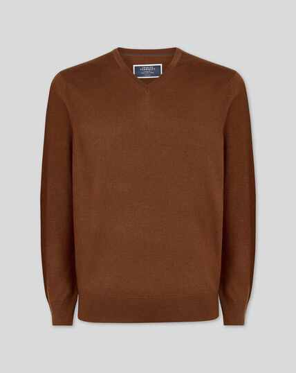 Brown merino v-neck jumper