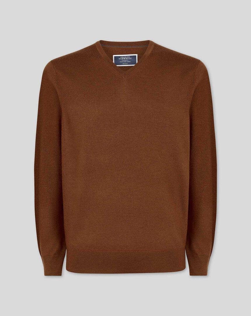 Brown merino v-neck jumper