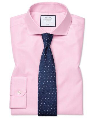 Super slim fit cutaway non-iron twill pink shirt