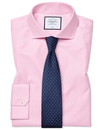 Super slim fit pink non-iron twill shirt