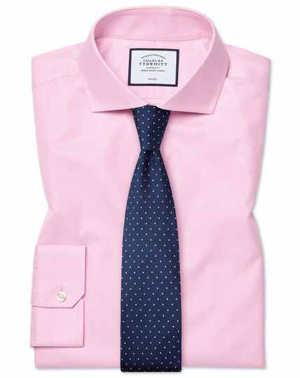 Chemise rose en twill super slim fit sans repassage à col cutaway