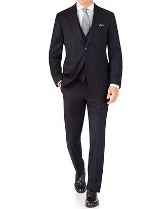 Navy stripe classic fit twill business suit