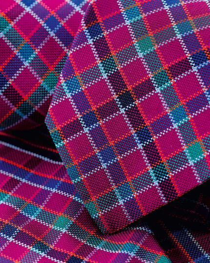 Silk Check English Luxury Tie - Berry & Blue