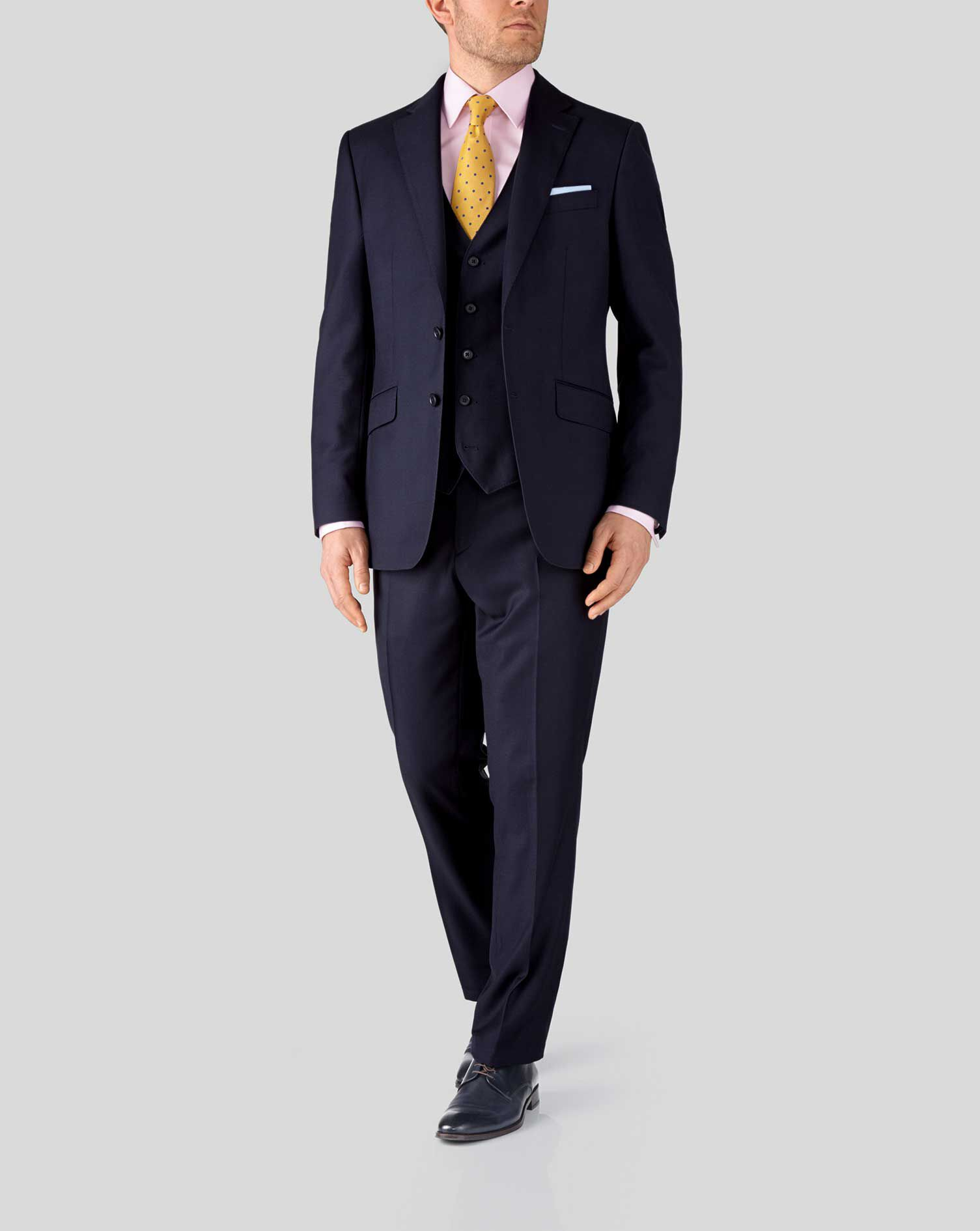 Charles Tyrwhitt Ink Slim Fit Birdseye Travel Suit Jacket 40L