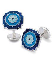 Boutons de manchette bleus à fleurs en émail