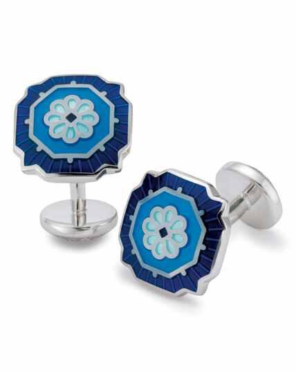 Emaille-Manschettenknöpfe mit Blumenmuster in Blau