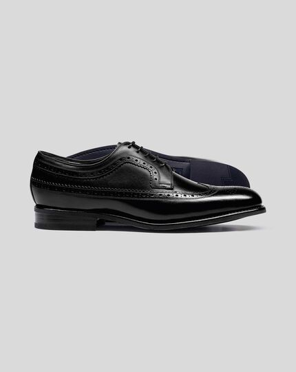Goodyear Welted Brogue Wing Tip Derby Performance Shoes - Black