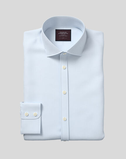 Slim fit semi-cutaway luxury twill light blue shirt