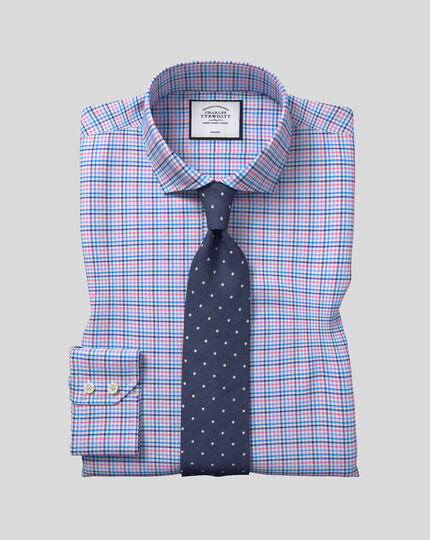Cutaway Collar Non-Iron Tyrwhitt Cool Poplin Check Shirt - Pink