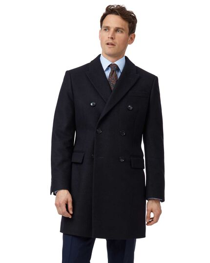 Navy Italian wool and cashmere double breasted Epsom overcoat