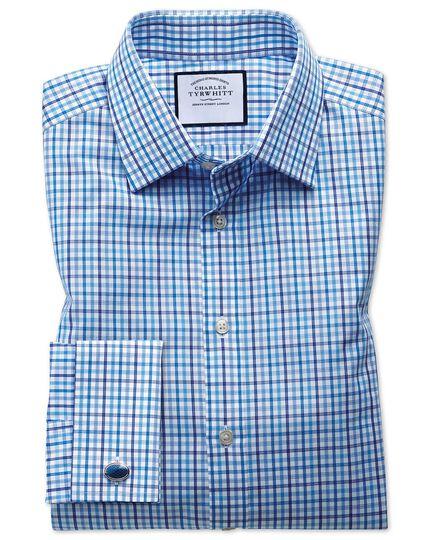 Chemise bleue et multicolore en popeline coupe droite à carreaux