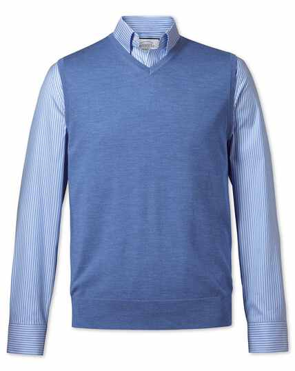 Blue merino wool tank sweater