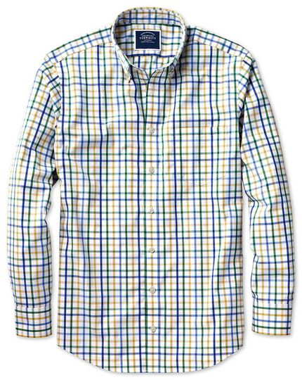Classic fit button-down non-iron poplin green multi check shirt