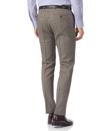Grey slim fit British Prince of Wales check luxury suit pants