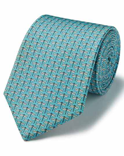 Aqua silk animal print classic tie