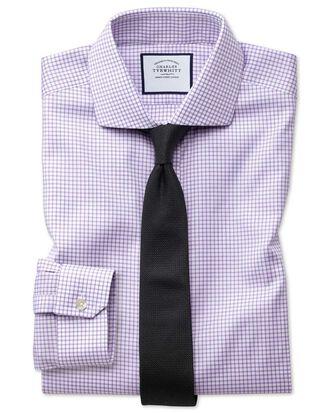 Super slim fit non-iron cutaway collar lilac grid check Oxford stretch shirt